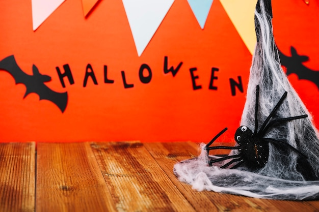 Halloween decor in composition