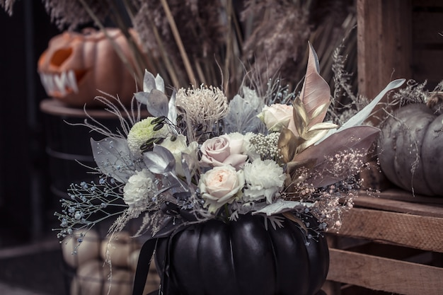 Halloween, decor elements and attributes of the holiday.