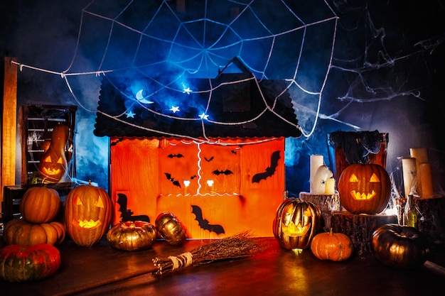 Halloween decor interior in the dark