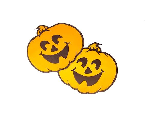 Halloween decor. orange paper craft pumpkins on white background.