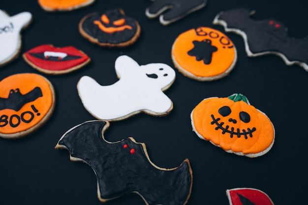 Halloween decorated homemade ginger cookies