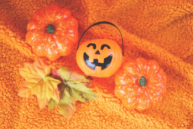 Halloween decoration accessories holiday with  pumpkin jack o lantern and leaves autumn