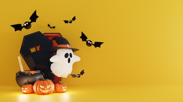 Halloween decoration background with ghost using witch hat