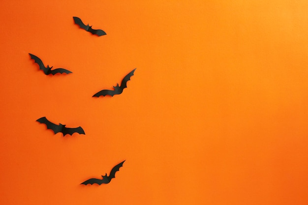 Halloween and decoration concept paper bats flying