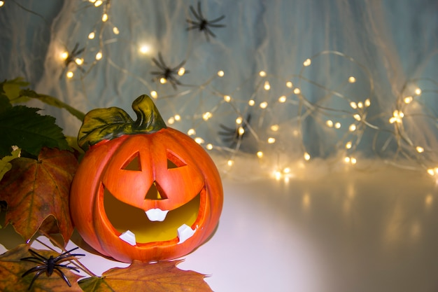 Halloween decoration concept pumpkin head a web with spiders on the background