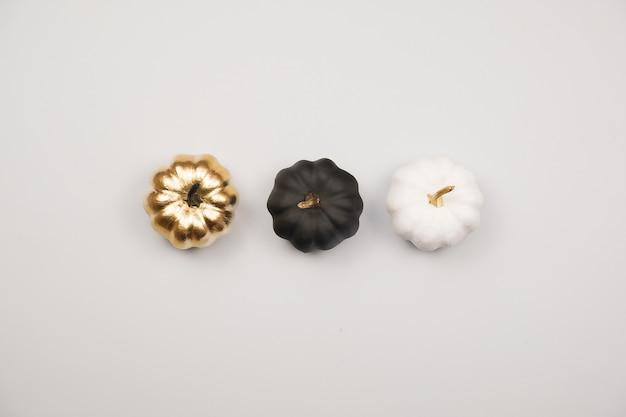 Украшение на хэллоуин, золото, чёрно-белые тыквы