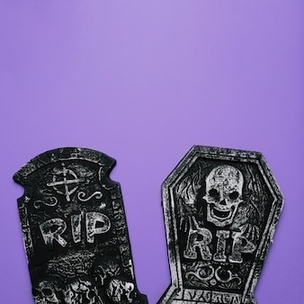 Halloween decoration graves with copy space in the top