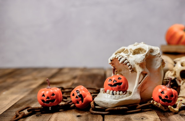 Halloween decoration. trick or treat in autumn and fall season. pumpkin face and scary symbol on wood background.