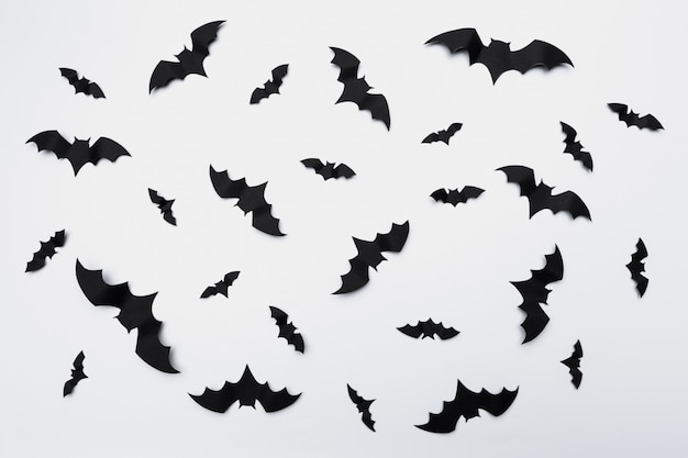 Halloween decoration with paper bats flying