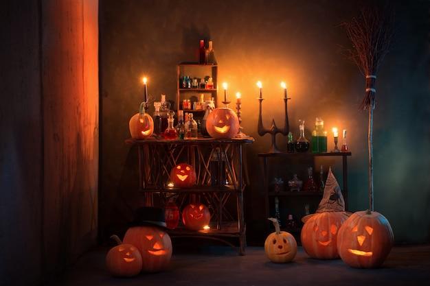 カボチャと魔法のポーションが室内にあるハロウィーンの装飾
