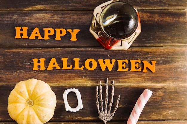 Decorazioni di halloween e complimenti di happy halloween