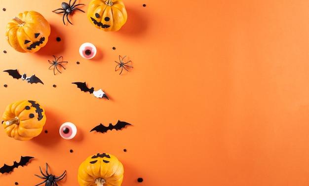 호박 종이 박쥐와 검은 거미로 만든 할로윈 장식