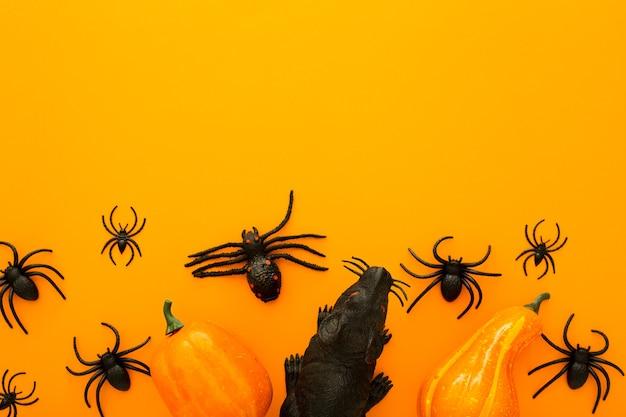 Halloween decorations pumpkins black rat spiders on orange background. top view with copy space