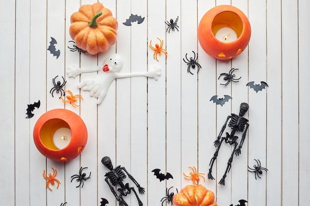 ハロウィーンの装飾トップビューコピースペース