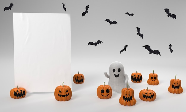 Halloween decorations with ghost