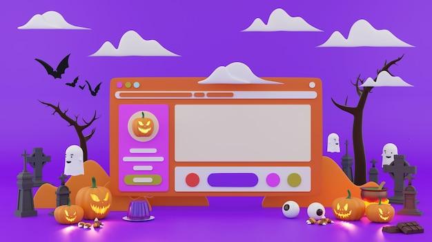 Halloween display on website background. 3d render.