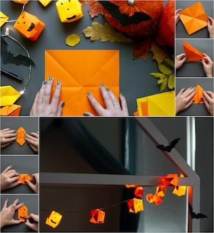 Хэллоуин поделки проект как сделать бумажную тыквенную гирлянду украшение дома