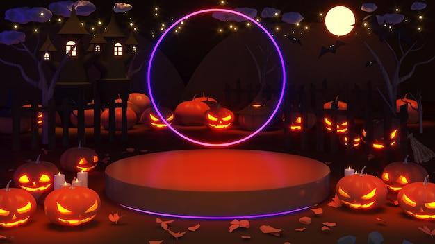 ハロウィーンフェスティバルの背景画像プレゼンテーションのモックアップハロウィーンの休日とカボチャの悪魔
