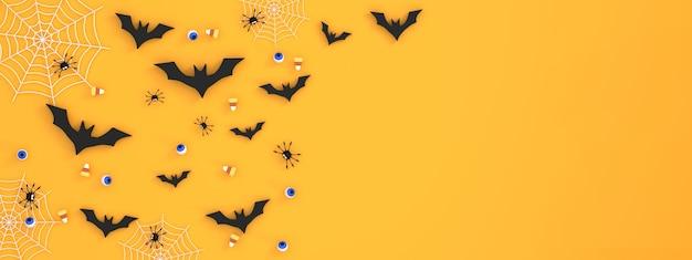 오렌지 배경 박쥐 눈알 거미 유령 비단 이빨에 할로윈 축제 배너 배경