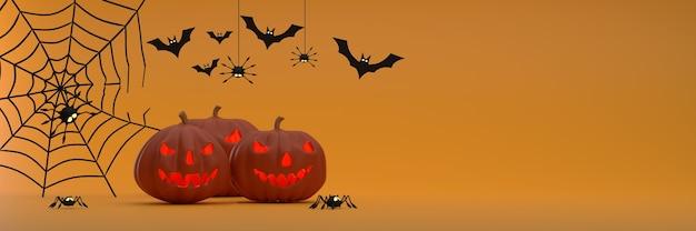 오렌지 배경 유령 호박 박쥐 비단 거미 유령에 할로윈 축제 배너 배경