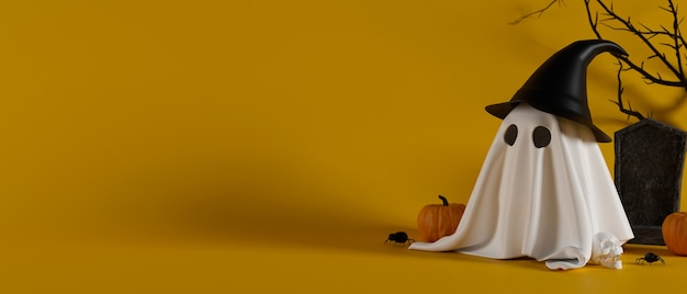 Halloween ghost in witch hat standing in front of grave on yellow background with copy space 3d rendering