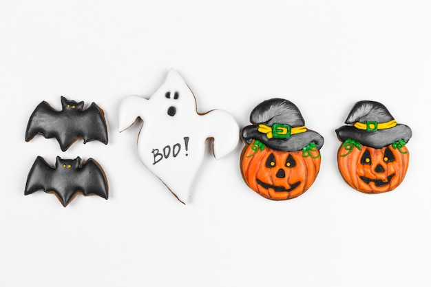Halloween gingerbread cookie isolated on white