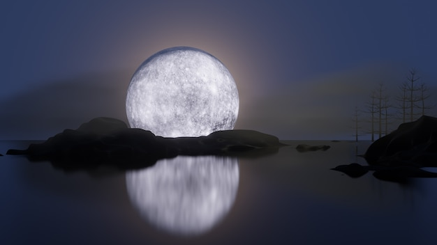 Halloween graphic background. big full moon on blue sky with mountain reflection mirror shadow. 3d illustration rendering