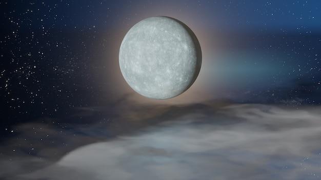 할로윈 그래픽 배경입니다. 구름 바닥과 푸른 하늘에 큰 보름달. 3d 일러스트레이션 렌더링