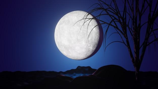 할로윈 그래픽 배경입니다. 산과 나무와 푸른 하늘에 큰 보름달. 3d 일러스트레이션 렌더링