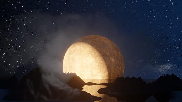 Хэллоуин графический фон. большая полная луна на голубом небе с тенью зеркала отражения горы. визуализация 3d-иллюстраций