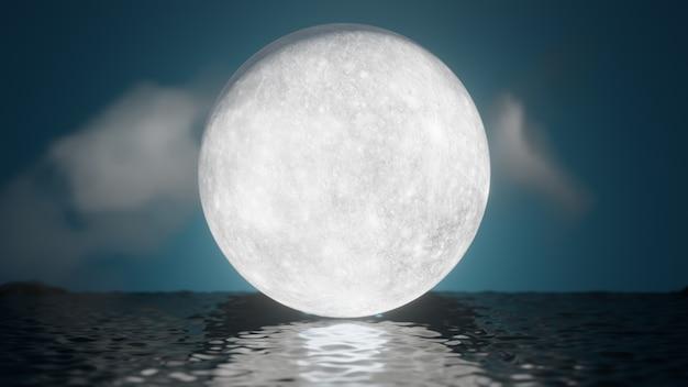 ハロウィーンのグラフィックの背景。反射海と雲と青い空に大きな満月。 3dイラストレンダリング