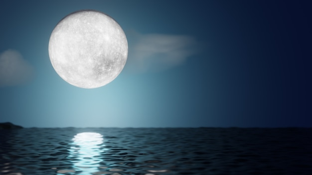 할로윈 그래픽 배경입니다. 반사 바다와 구름과 푸른 하늘에 큰 보름달. 3d 그림 렌더링