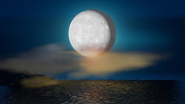 할로윈 그래픽 배경입니다. 바다 물 반사와 구름과 푸른 하늘에 큰 보름달. 블루 오렌지 테마. 3d 그림 렌더링