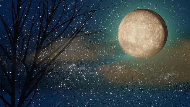 할로윈 그래픽 배경입니다. 별과 구름과 푸른 하늘에 큰 보름달. 블루 오렌지 테마. 3d 그림 렌더링