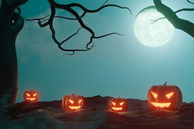 할로윈 그래픽 배경입니다. 별과 호박 얼굴 램프와 푸른 하늘에 큰 보름달. 블루 오렌지 테마입니다. 3d 그림 렌더링