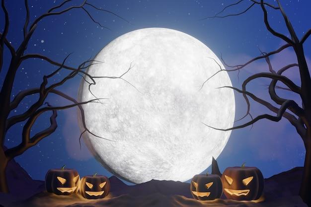할로윈 그래픽 배경입니다. 별과 호박 얼굴 램프와 푸른 하늘에 큰 보름달. 노란색 파란색 테마입니다. 3d 그림 렌더링