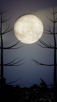 ハロウィーンのグラフィックの背景。木のテーマで青い空に大きな満月。 3dイラストレンダリング