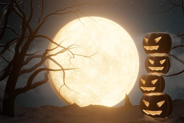 할로윈 그래픽 배경입니다. 별과 호박 얼굴 램프와 어두운 하늘에 큰 보름달. 옐로우 블랙 테마. 3d 그림 렌더링