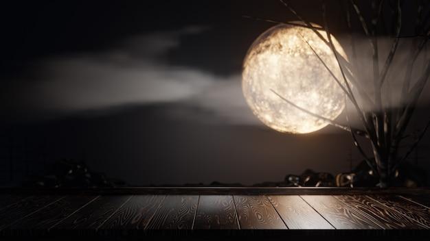 할로윈 그래픽 배경입니다. 나무 보드 상판과 구름과 나무가 있는 주황색 하늘에 큰 보름달. 3d 그림 렌더링