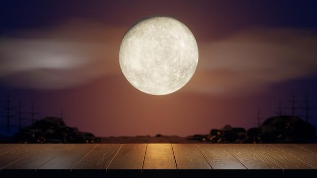 할로윈 그래픽 배경입니다. 나무 보드 상판과 구름과 나무가 있는 주황색 하늘에 큰 보름달. 오렌지 블루 테마입니다. 3d 그림 렌더링
