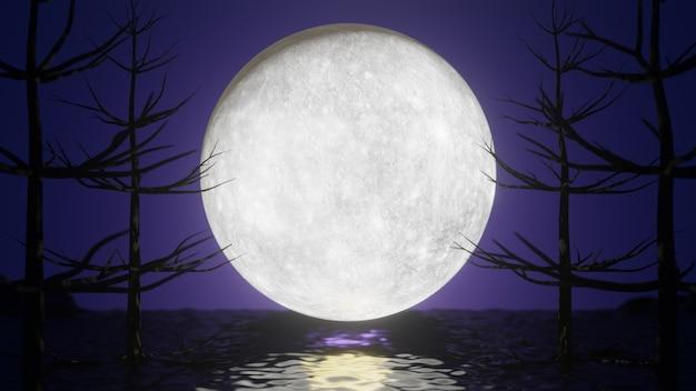 할로윈 그래픽 배경입니다. 반사 바다와 나무와 보라색 분홍색 하늘에 큰 보름달. 3d 일러스트레이션 렌더링