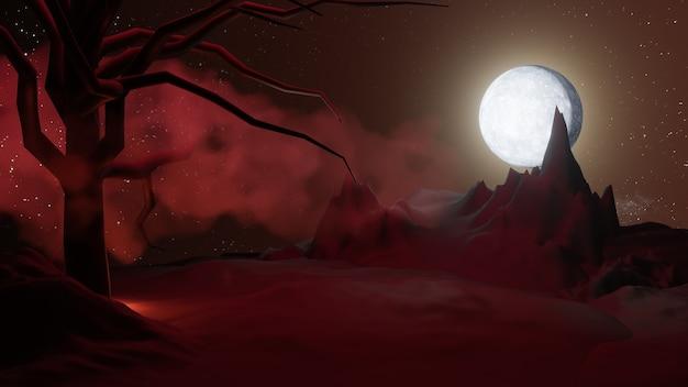 할로윈 그래픽 배경입니다. 별과 구름과 붉은 하늘에 큰 보름달. 블랙 레드 테마. 3d 그림 렌더링