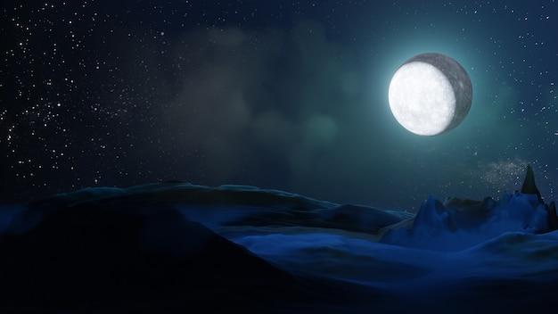 Хэллоуин графический фон. большая полная луна на небе с облаком на первом этаже. синий цвет темы. визуализация 3d-иллюстраций
