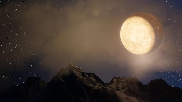 Хэллоуин графический фон. большая полная луна на небе с облаком на первом этаже. желтый синий цвет темы. визуализация 3d-иллюстраций