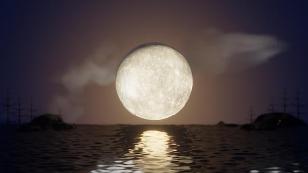할로윈 그래픽 배경입니다. 반사 바다와 구름과 나무와 하늘에 큰 보름달. 3d 그림 렌더링