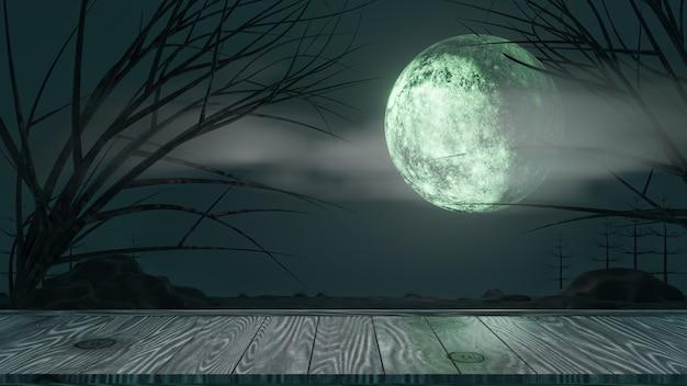 할로윈 그래픽 배경입니다. 나무 보드 상단 테이블과 구름과 나무와 하늘에 큰 보름달. 블루 테마. 3d 그림 렌더링
