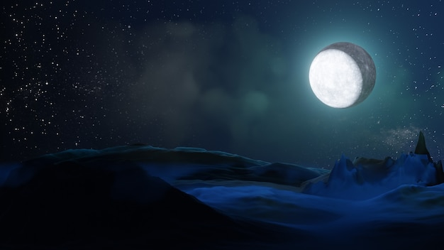 Halloween graphic background. big full moon on sky with cloud on ground floor. blue theme color. 3d illustration rendering