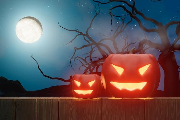 할로윈 그래픽 배경입니다. 나무 바닥에 호박 얼굴 램프와 푸른 하늘에 큰 보름달. 블루 오렌지 테마입니다. 3d 그림 렌더링