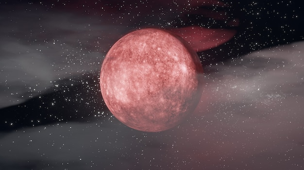 할로윈 그래픽 배경입니다. 구름 스타와 함께 검은 하늘에 붉은 큰 보름달. 3d 일러스트레이션 렌더링