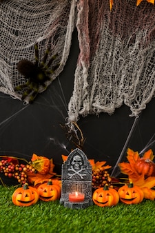 Halloween graveyard with bloody net